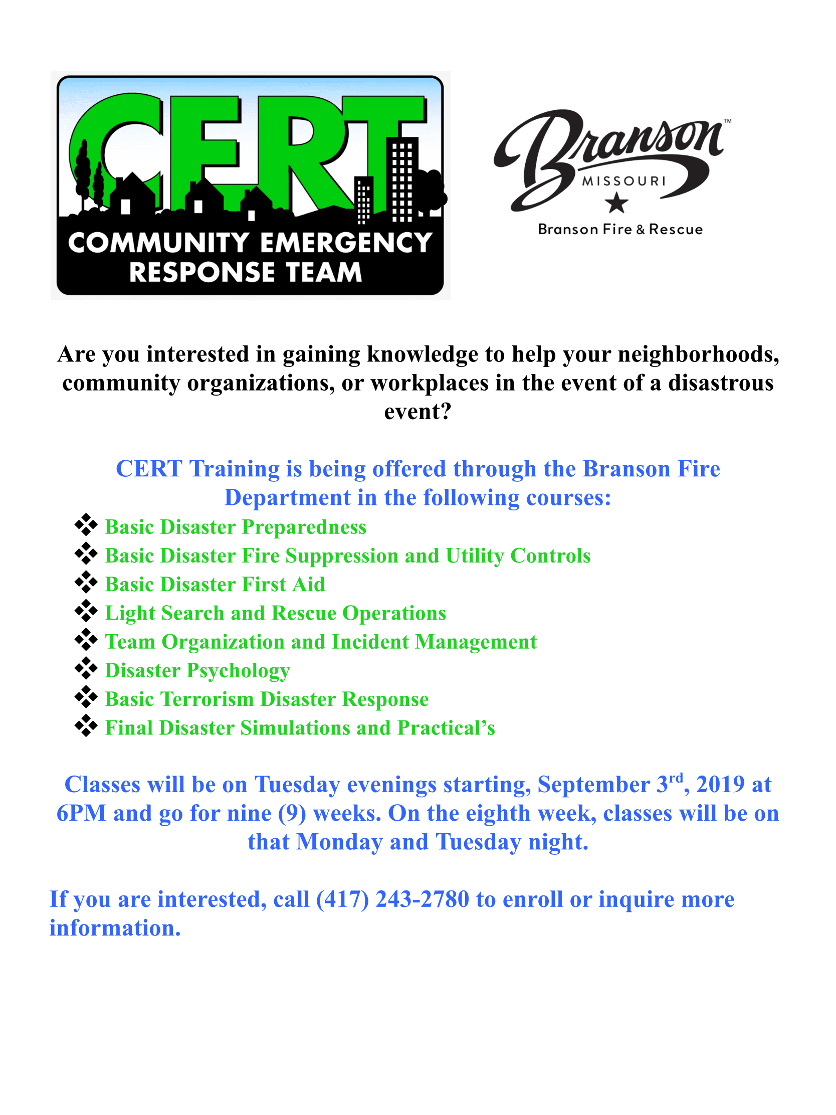 CERT TRAINING INVITE